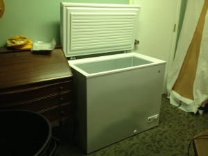 unpacked chest freezer in place