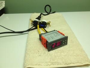 Thermostat Test Setup Cooling the Kegerator